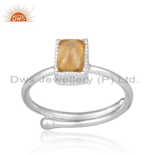 Rectangular Cut Citrine Set Fine Sterling Silver Crown Ring