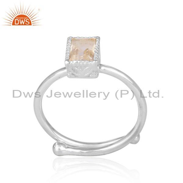 Rectangular Cut Crystal Quartz Set Fine Silver Crown Ring