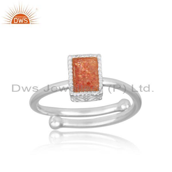 Rectangular cut sun stone set fine 925 silver designer ring