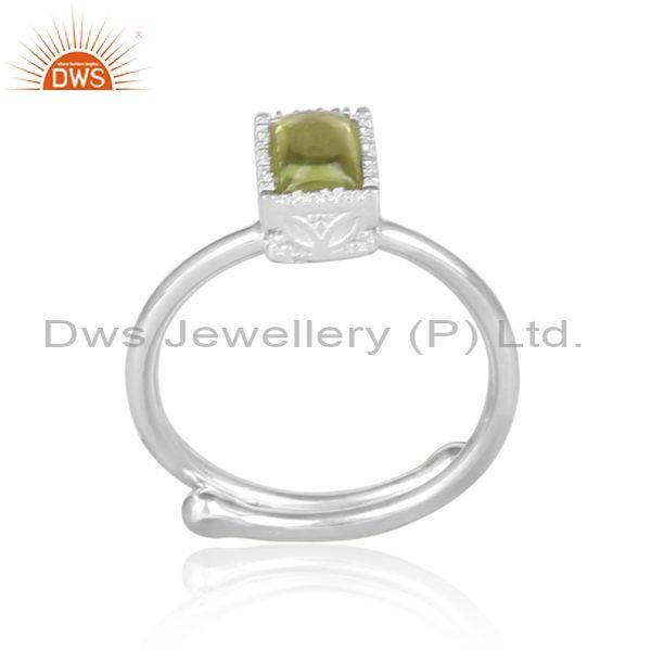 Rectangular cut peridot set fine sterling silver crown ring