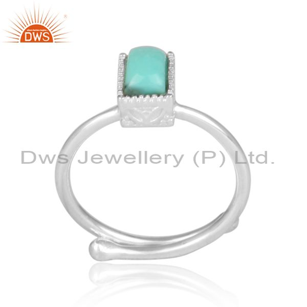 Rectangular cut arizona turquoise fine 925 silver crown ring