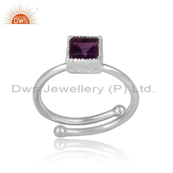 Amethyst Set Fine 925 Silver Statement Square Cut Crown Ring