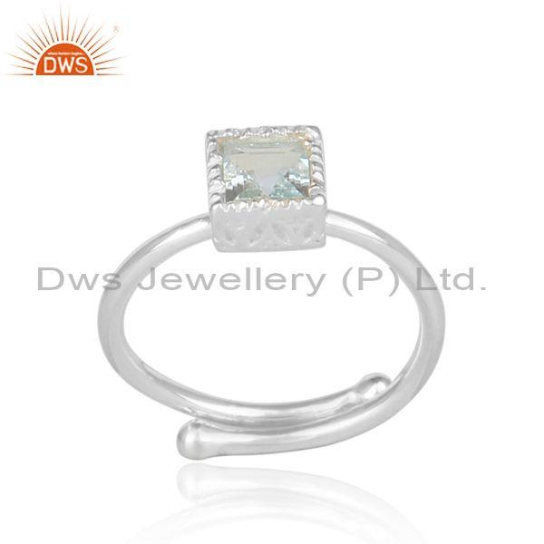 Blue Topaz Set Fine 925 Silver Statement Square Crown Ring