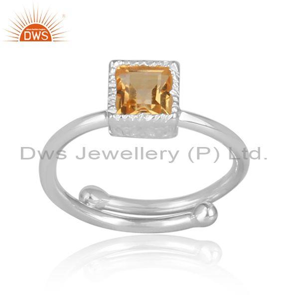 Citrine Set Fine Sterling Silver Statement Square Crown Ring
