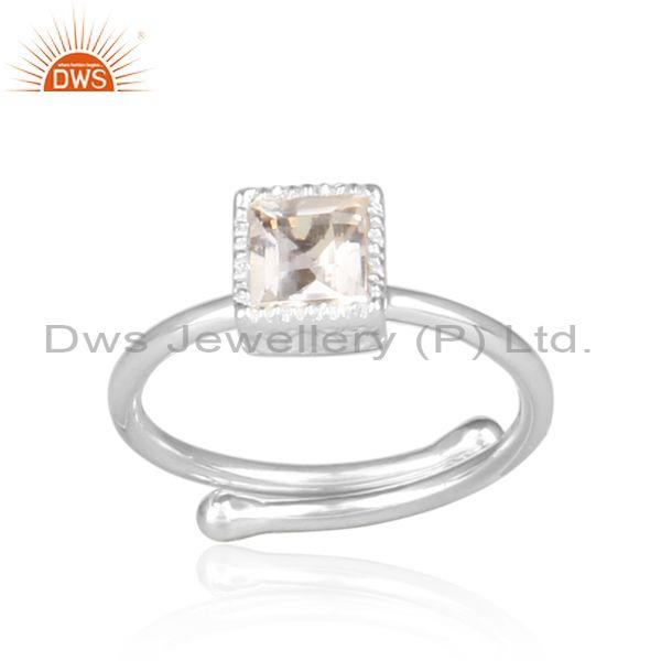 Crystal quartz set fine silver statement square crown ring