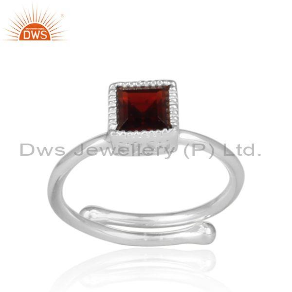 Red Garnet Set Fine 925 Silver Statement Square Crown Ring