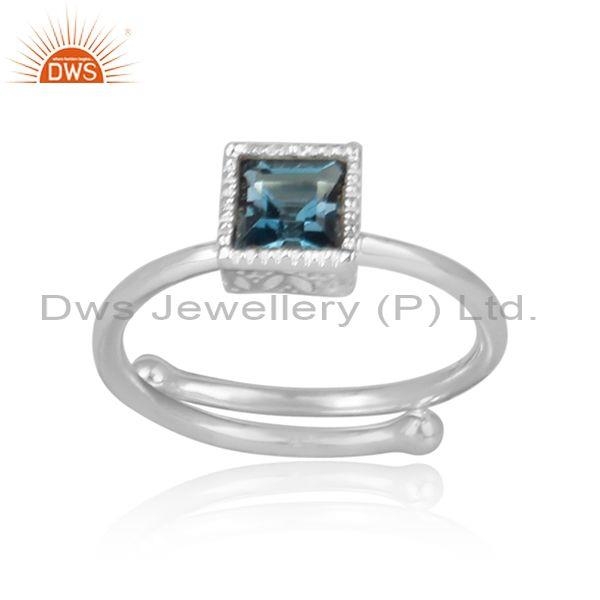London Blue Topaz Fine Silver Statement Square Crown Ring