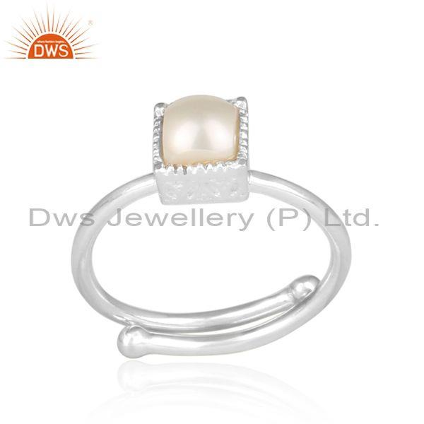 Pearl set fine sterling silver statement square crown ring