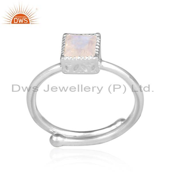 Square cut rainbow moon stone fine 925 silver crown ring