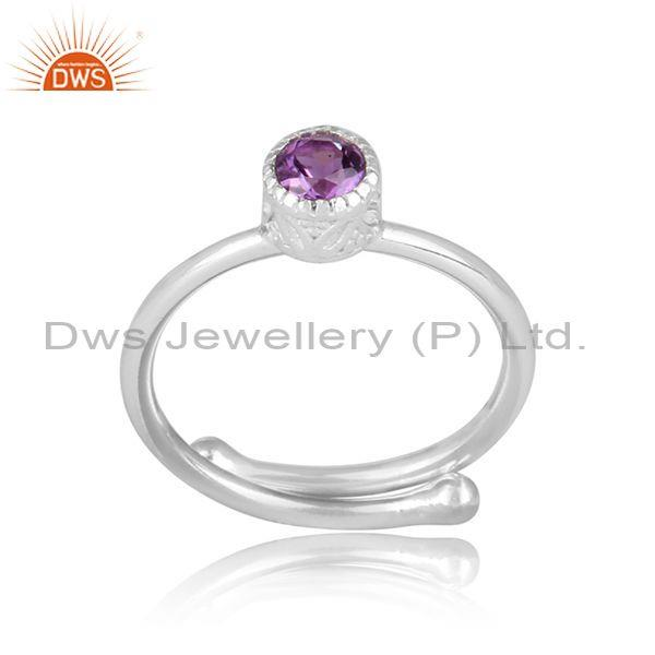 Round cut amethyst set fine 925 sterling silver crown ring
