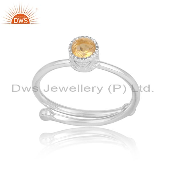 Round cut citrine fine 925 sterling silver crown ring