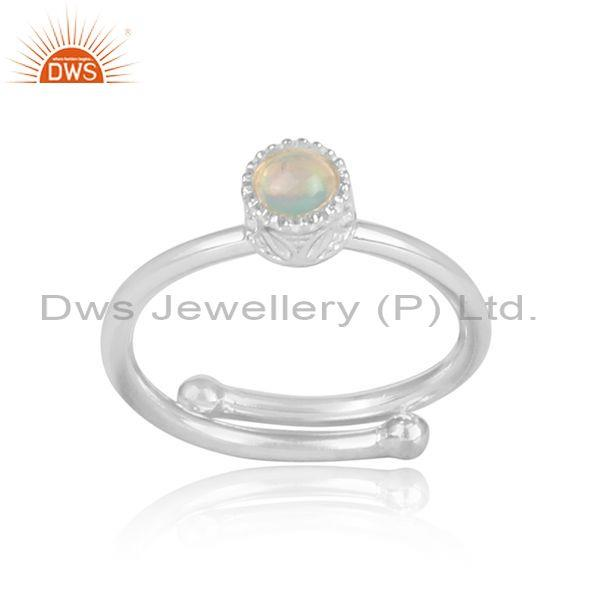 Round cut ethiopian opal fine sterling silver crown ring