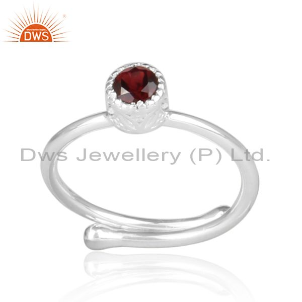 Red Garnet Set Fine Sterling Silver Round Fancy Crown Ring