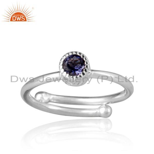 Iolite Set Fine 925 Sterling Silver Round Fancy Crown Ring