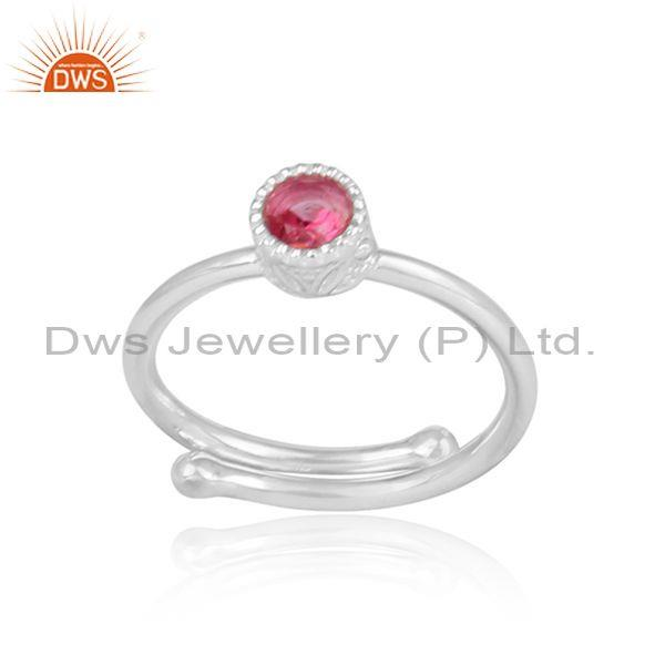 Round cut pink topaz fine 925 sterling silver crown ring
