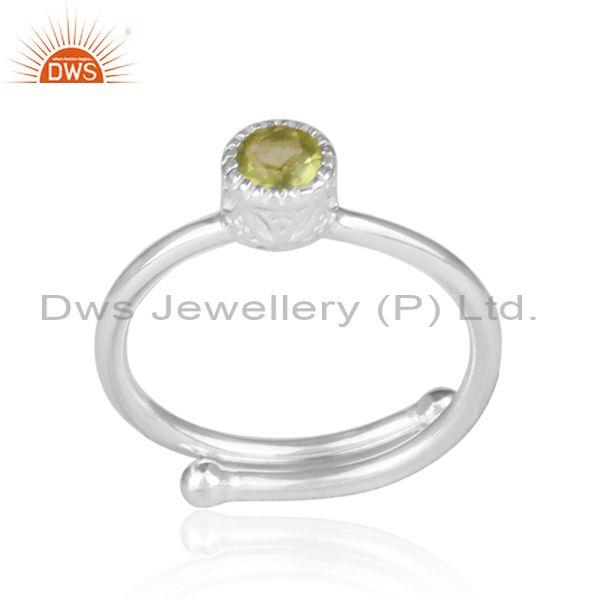 Peridot set fine 925 sterling silver round fancy crown ring