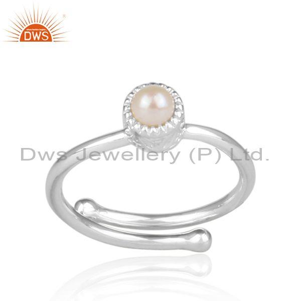 Pearl set fine 925 sterling silver round fancy crown ring