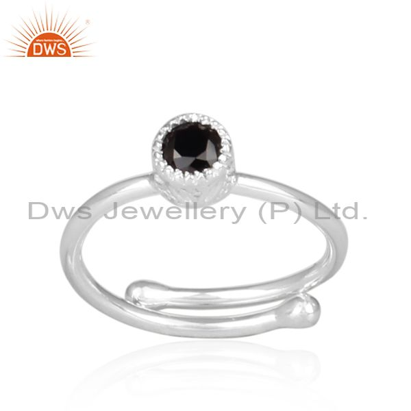Black Spinal Set Fine Sterling Silver Round Fancy Crown Ring
