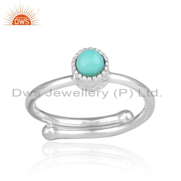 Arizona Turquoise Set Fine 925 Silver Round Fancy Crown Ring