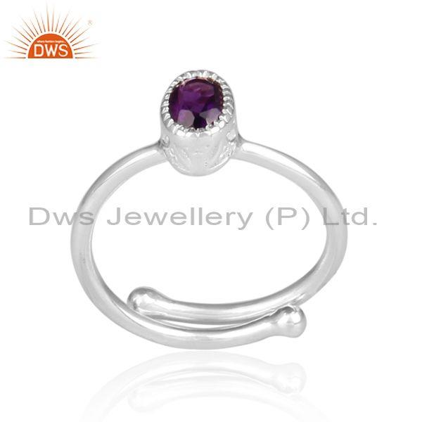 Amethyst Set Fine 925 Silver Oval Shape Fancy Crown Ring