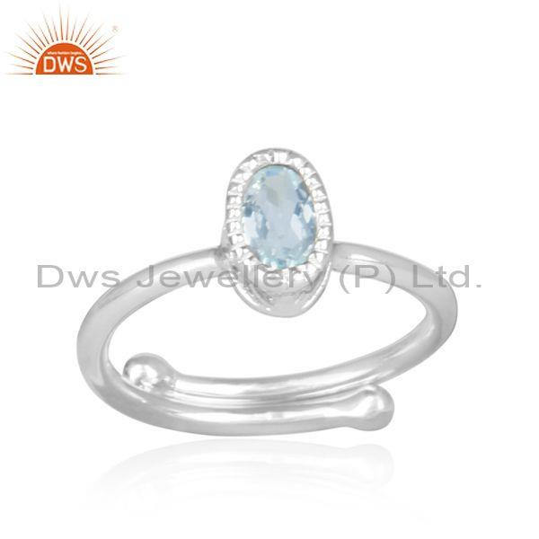 Oval cut blue topaz set fine 925 sterling silver casual ring