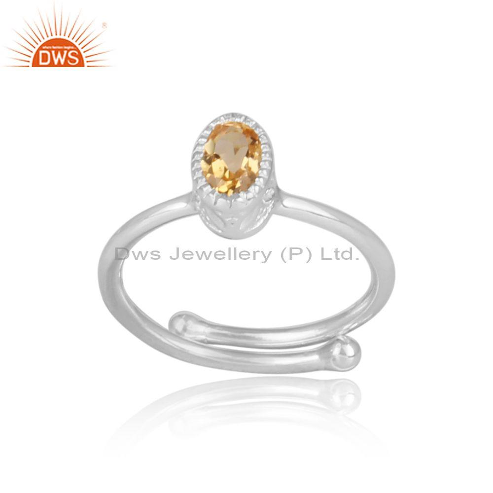 Citrine Set Fine Sterling Silver Oval Shape Fancy Crown Ring
