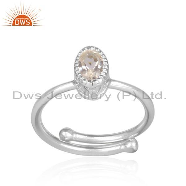 Oval cut crystal quartz set fine sterling silver casual ring