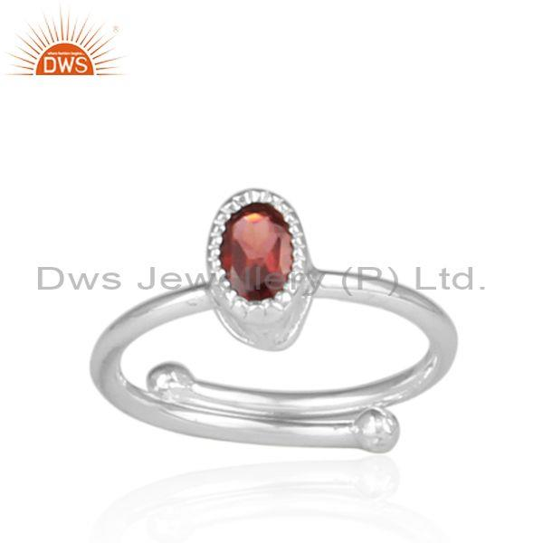 Garnet set fine sterling silver oval shape fancy crown ring