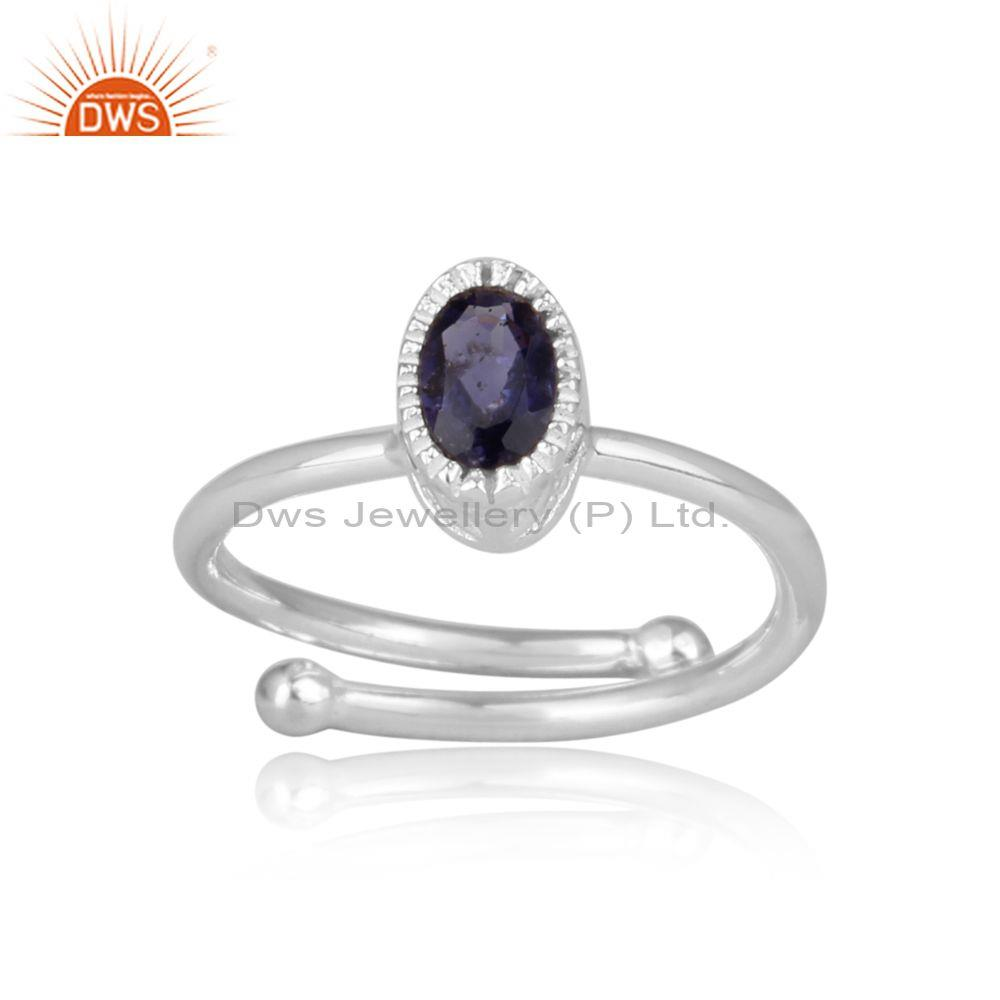 Iolite Set Fine Sterling Silver Oval Shape Fancy Crown Ring