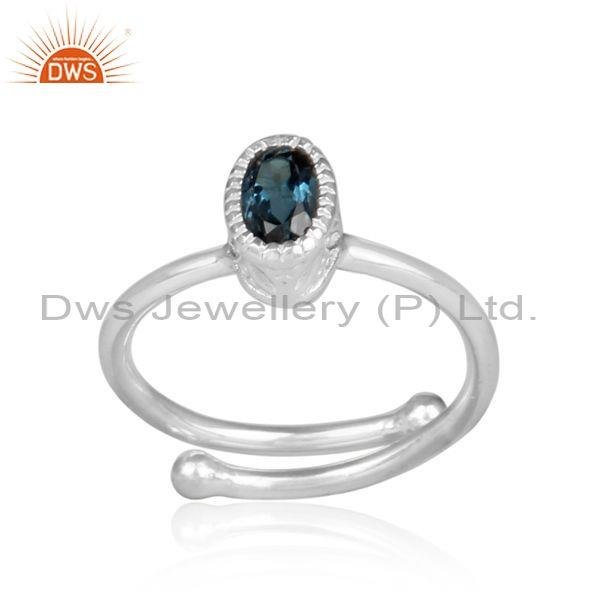 Oval cut london blue topaz set fine 925 silver casual ring