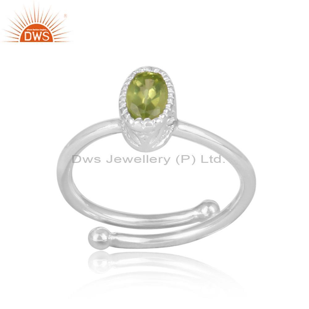 Peridot set fine sterling silver oval shape fancy crown ring