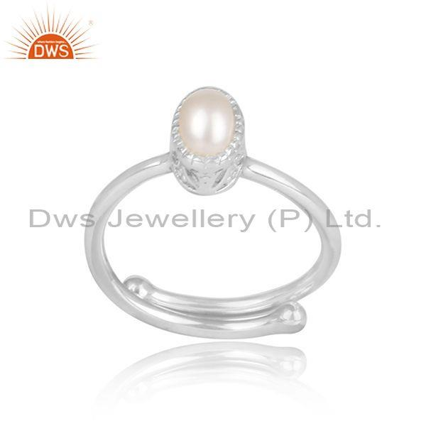 Oval cut pearl set fine sterling silver designer casual ring
