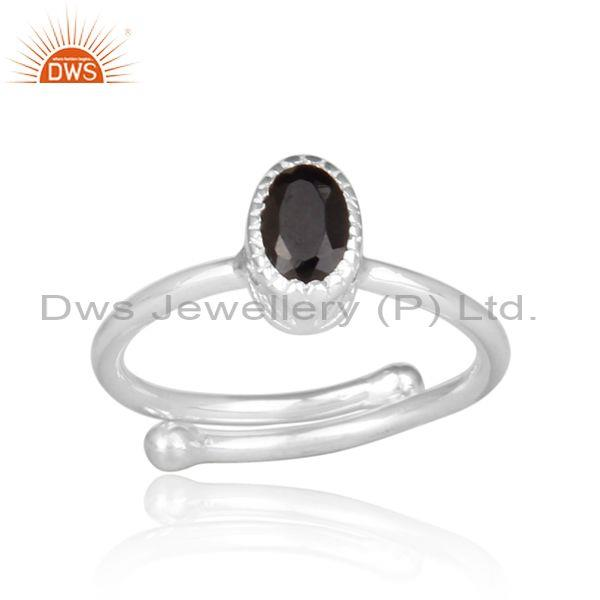 Black Spinal Set Fine 925 Silver Oval Shape Fancy Crown Ring