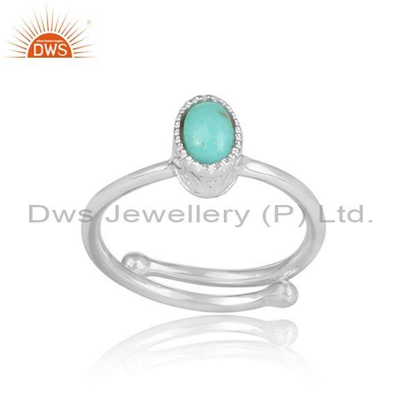 Oval cut arizona turquoise set fine 925 silver casual ring