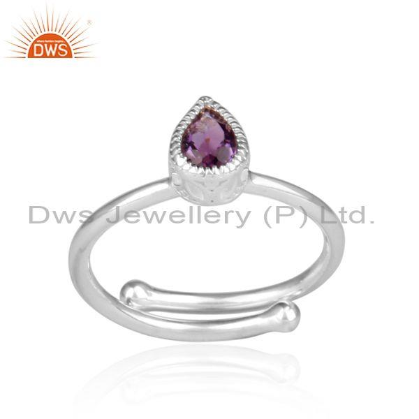 Amethyst Set Fine Sterling Silver Tear Drop Fancy Crown Ring
