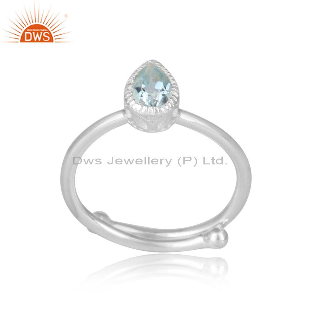 Blue Topaz Set Fine 925 Silver Tear Drop Fancy Crown Ring