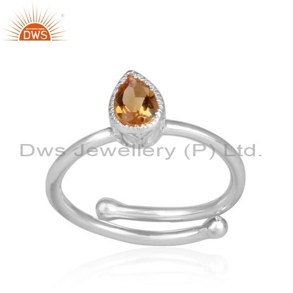 Pear cut citrine handmade crown shaped fine 925 silver ring