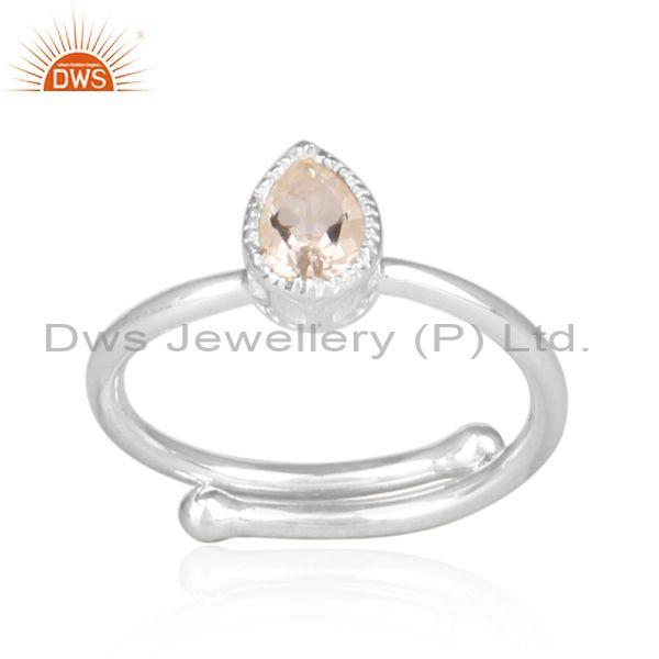 Crystal Quartz Set Fine Silver Tear Drop Fancy Crown Ring