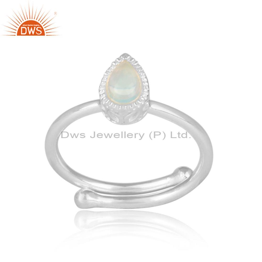 Ethiopian Opal Set Fine Silver Tear Drop Fancy Crown Ring
