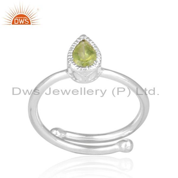 Peridot set fine sterling silver tear drop fancy crown ring