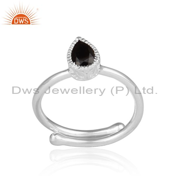 Black Spinal Set Fine 925 Silver Tear Drop Fancy Crown Ring