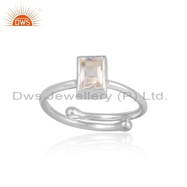 Crystal Quartz Set Fine Sterling Silver Handhammered Ring