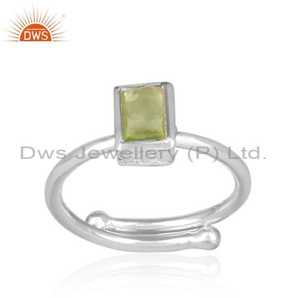 Peridot Set Fine Sterling Silver Handhammered Statement Ring