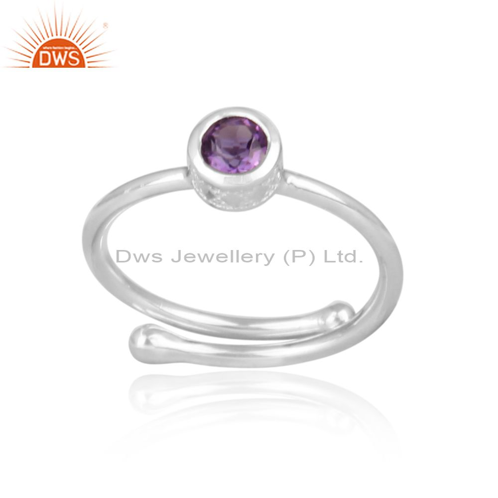 Amethyst set handmade fine sterling silver statement ring