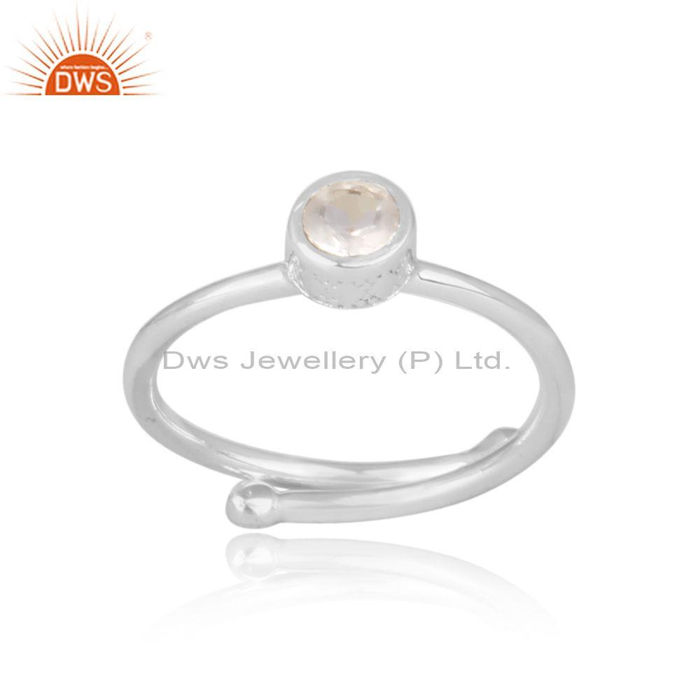 Crystal Quartz Set Handmade Fine 925 Silver Statement Ring