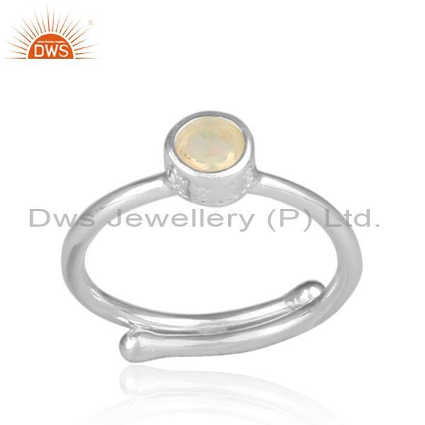 Ethiopian Opal Set Handmade Fine 925 Silver Statement Ring
