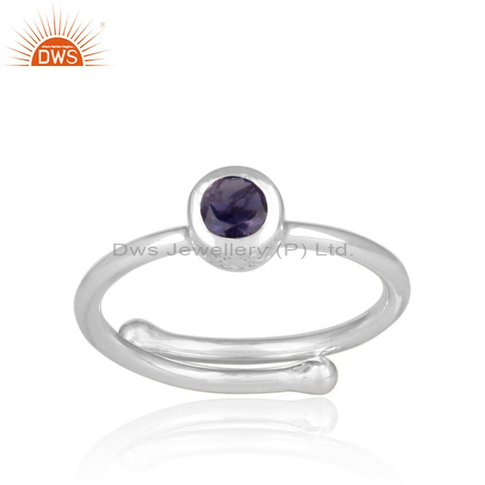 Iolite set fine sterling silver handhammered statement ring