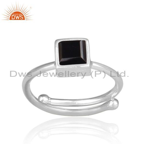 Fine sterling silver square shaped black spinal fancy ring