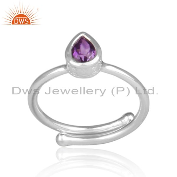 Fine 925 sterling silver tear drop amethyst set fancy ring