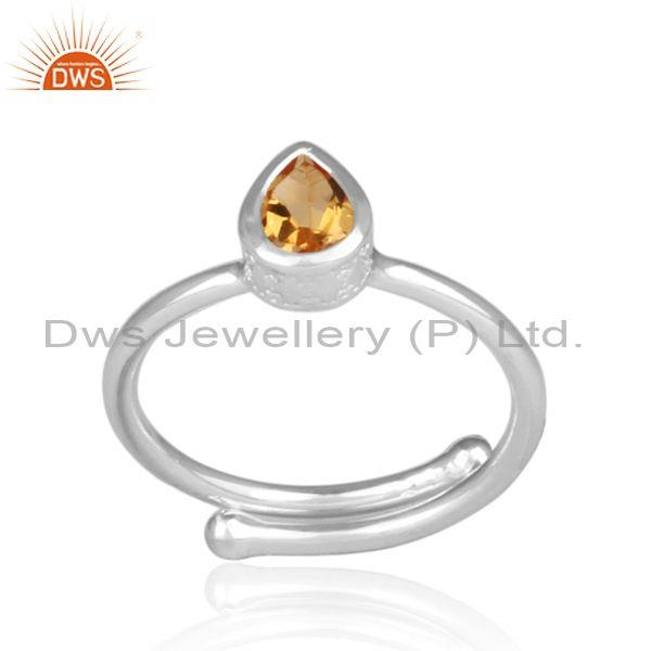 Fine 925 Sterling Silver Tear Drop Citrine Set Fancy Ring
